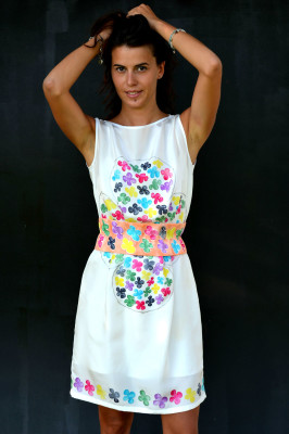 hand painted silk dress